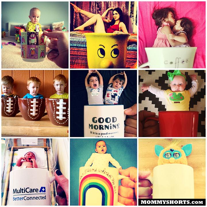 Baby-mugging-mommy-shorts